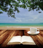 Reading book with hot cup at island , Relax concept — Stock Photo