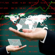 News from stock market to investor hand with world map background — Stock Photo #27929907