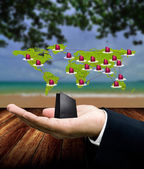 Buy travel package from internet, Network marketing concept — Stock Photo