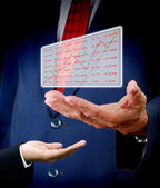 Stock exchange analysis data in senior hand — Stock Photo