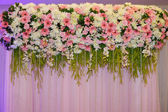 Flower decorate backdrop in wedding ceremony — Stock Photo