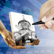 Human hand with pen drawing Thai giant on canvas — Stock Photo