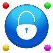 Unlock icon button vector with 4 color background included — Векторная иллюстрация