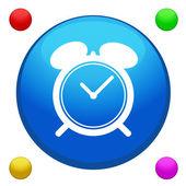 Vector de botón de icono reloj despertador con fondo de color 4 incluido — Vector de stock
