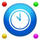 Vector de botón de icono de reloj con fondo de color 4 incluido — Vector de stock
