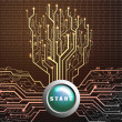 Start button on circuit board in Tree shape, Technology background — Stock Photo