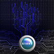 Start button on circuit board in Tree shape, Technology background — Stock Photo #30922705