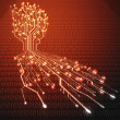 Red hot circuit board in Tree shape, Technology background — Stock Photo
