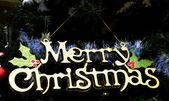 Merry christmas tekst opknoping op kerstboom — Stockfoto