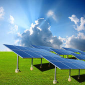 Solar energy panels in the green — Stock Photo