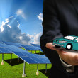 Green energy for transportation, Solar power car concept — Stock Photo