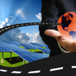 New road for sustainable energy concept, Solar energy — Stock Photo