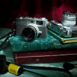 Vintage camera with old photo album, Still life — Stock Photo