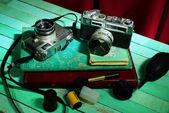 Vintage camera with old photo album, Still life — Stock fotografie