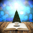 Drink coffee and read bible in Christmas day — Stock Photo
