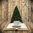 Stock Photo: Drink coffee and read bible in Christmas day
