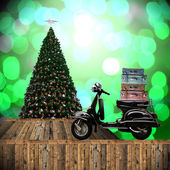 Travel with motorcycles in Christmas day — Stock Photo