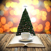 Drink coffee with bible in Christmas day concept — Stock Photo
