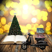 Travel with motorcycles in Christmas day, Guidebook concept — Stock Photo