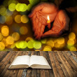 Open bible and praying concept — Stock Photo