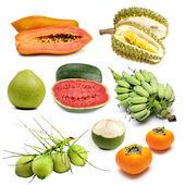 Conjunto de frutas tropicales en Tailandia, fruta aislado — Foto de Stock