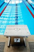Swimming pool starting block — Stock Photo