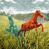 Horse running in rice field — Foto de Stock