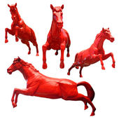 Set of red horses isolated on white background — Stock Photo