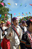 CHIANG MAI, THAILAND - DECEMBER 5 : Manau traditional event of Kachin's tribe to worship God and wish The king of Thailand on 5 December 2012 at Banmai Samahki, Chiang Dao, Chiang Mai, Thailand  — Stock Photo