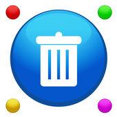 Bin icon button vector with 4 color backgrounds included — Cтоковый вектор