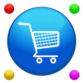 Shopping cart icon button vector with 4 color background included — Stock Vector