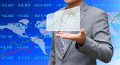 Investor sharing analyze stock exchange data — Stock Photo
