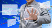 Investor analyzing data with touch screen computer — Stock Photo