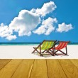 Beach chairs with summer time — Stock Photo #45117209