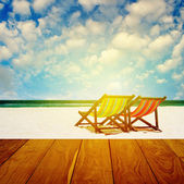 Beach chairs with summer time — Stock Photo