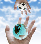 Share football world cup scores to the world — Stock Photo