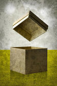 Open paper box  in vintage style — Stock Photo