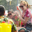 CHIANG MAI, THAILAND - APRIL 15 : People celebrating Songkran water festival in the streets by throwing water at each other on 15 April 2014 in Chiang Mai, Thailand — Stock Photo #46715243