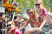 CHIANG MAI, THAILAND - APRIL 15 : People celebrating Songkran water festival in the streets by throwing water at each other on 15 April 2014 in Chiang Mai, Thailand — Stock Photo