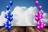 Stage for party with balloon — Stock Photo