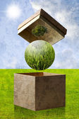 Green planet in the recycle paper box, Sustainable concept — Stock Photo