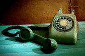 Retro telephone, In the line concept — Stock Photo