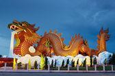 Big dragon statue at night, Supanburi Thailand  — Stock Photo