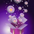 Lotus flower in bubble flying from gift box with purple color background — Stock Photo #7110868