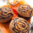 Halloween muffin with chocolate cream — Stock Photo