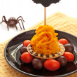 Halloween cake with orange cream — Stock Photo