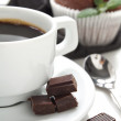 Morning coffee with chocolate — Stock Photo