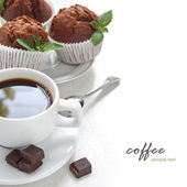 Matin café avec muffin au chocolat — Photo