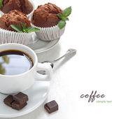 's ochtends koffie met chocolade muffin — Stockfoto