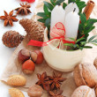 Spices for Christmas decoration — Stock Photo